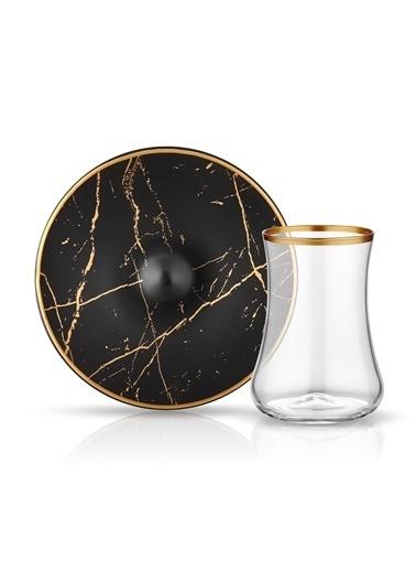 Koleksiyon Mermer Siyah Mat Altın 6 Lı Çay Seti Renkli